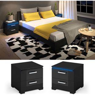 Vicco Nachtschrank Picot LED Nachttisch Kommode Schlafzimmer Schwarz Hochglanz - Bild 1