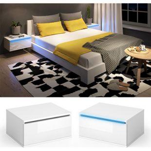 Vicco Nachttisch Pierre LED Nachtschrank Kommode Schlafzimmer Weiß / Schwarz Hochglanz - Bild 1
