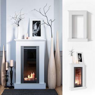 Vicco Kaminumrandung im Shabby Landhaus-Stil Kaminverkleidung 110x70 cm Weiß - Bild 1
