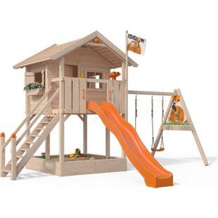 Oskar Spielturm Fridolino Baumhaus Rutsche orange Sandkasten Schaukelanbau - Bild 1