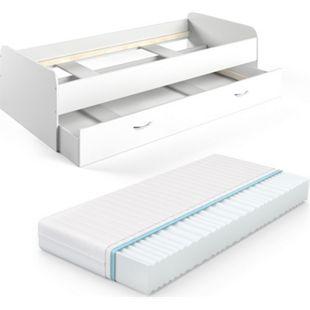 VitaliSpa Bett Enzo Jugendbett mit Gästeliege Funktionsbett 90x200 cm Weiß + Matratze - Bild 1