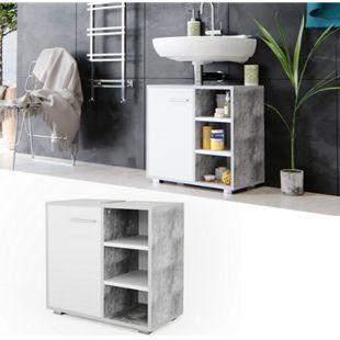 Vicco Waschtischunterschrank Perry Unterschrank Waschbecken Waschtisch Weiß / Beton - Bild 1