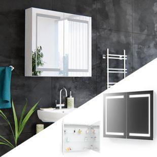 Vicco Spiegelschrank LED Badschrank Badspiegel Badezimmerspiegel 80 cm  Weiß - Bild 1