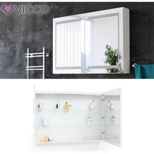 Vicco Spiegelschrank LED Badschrank Badspiegel Badezimmerspiegel 100 cm Weiß - Bild 1