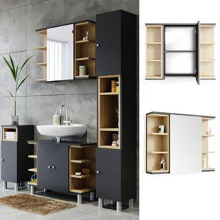 Vicco Spiegelschrank Aquis Spiegel Badspiegel Wandspiegel Bad Eiche Anthrazit - Bild 1