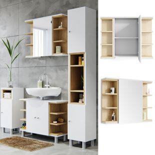Vicco Spiegelschrank Aquis Spiegel Badspiegel Wandspiegel Bad Eiche  Weiß - Bild 1