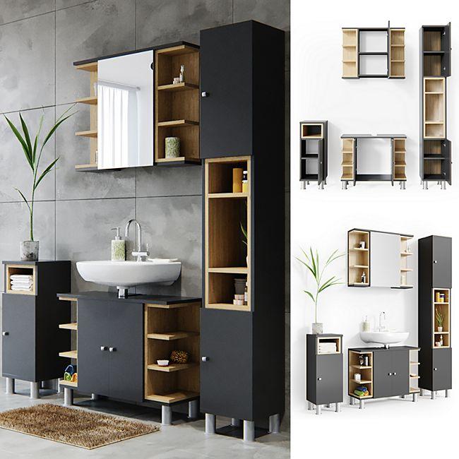 Vicco Badmöbel Set Aquis Bad Spiegel Waschtischunterschrank Badschrank  Anthrazit