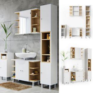 Vicco Badmöbel Set Aquis Bad Spiegel Waschtischunterschrank Badschrank  Weiß - Bild 1