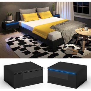 Vicco Nachttisch Pierre 2er Set LED Nachtschrank Kommode Schlafzimmer  Schwarz Hochglanz - Bild 1