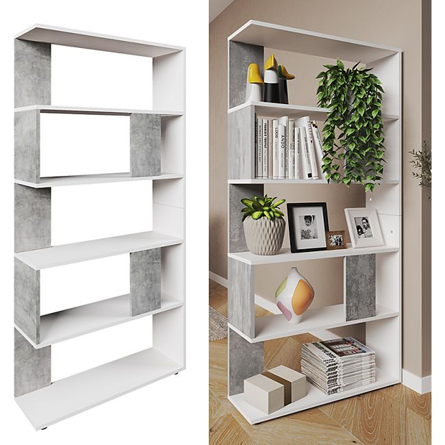 Vicco Raumteiler Bücherregal Standregal Büroregal Regal 5 Fächer Weiß Beton - Bild 1