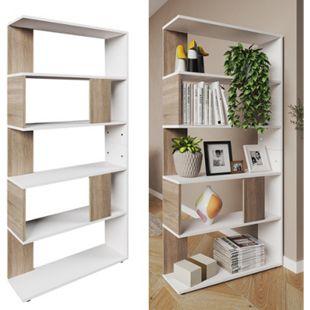 Vicco Raumteiler Bücherregal Standregal Büroregal Regal 5 Fächer Weiß Sonoma - Bild 1