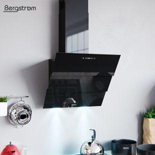 BERGSTROEM ROLLO Dunstabzugshaube Glas LED Wandhaube Schräghaube kopffrei Fernbedienung Schwarz 60 cm - Bild 1
