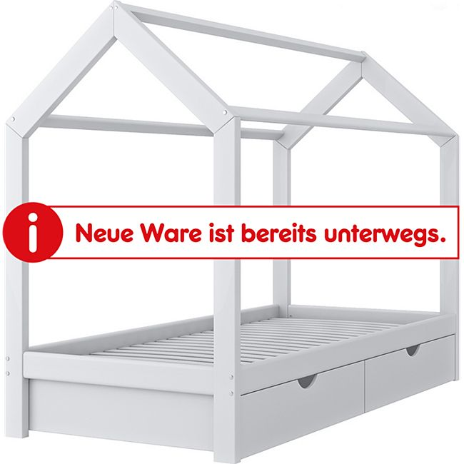 VITALISPA Kinderbett Hausbett Schubladen Bett Holz Kinderhaus weiß 90x200 cm - Bild 1