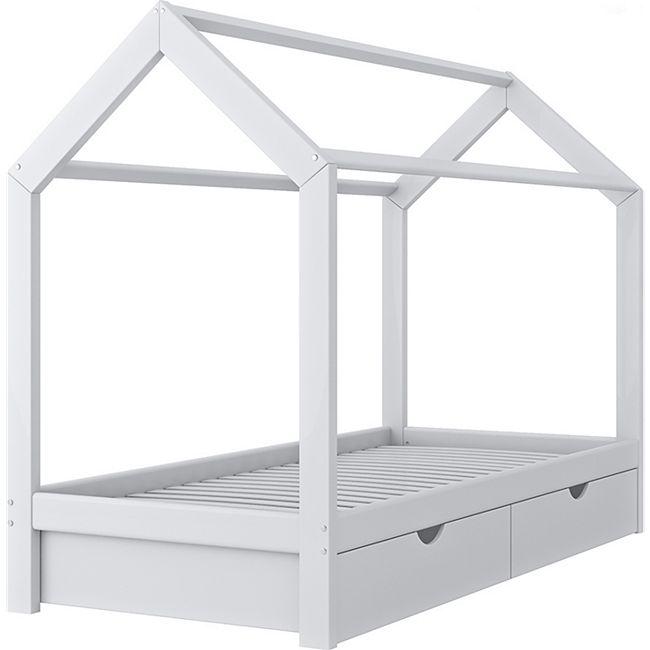 VITALISPA Kinderbett Hausbett Schubladen Bett Holz Kinderhaus weiß ...