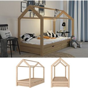 VitaliSpa Kinderbett Hausbett Schubladen Bett Holz Kinderhaus natur 90x200 cm - Bild 1