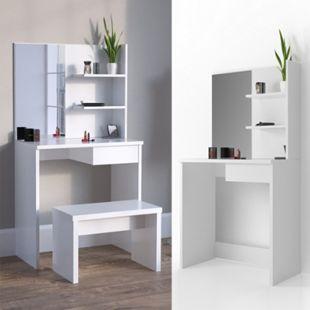 Vicco Schminktisch Dekos Kosmetiktisch Frisierkommode Frisiertisch Spiegel Weiß inklusive Bank - Bild 1