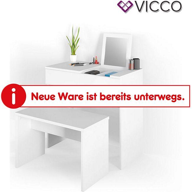 Vicco Schminktisch Mia Frisiertisch Kommode Spiegel Beautytisch Weiß + Bank - Bild 1