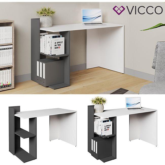 Vicco Schreibtisch Theo Schreibtisch Arbeitstisch Regal PC Tisch Weiß Anthrazit - Bild 1