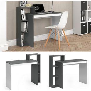 Vicco Schreibtisch Leo Schreibtisch Arbeitstisch Regal PC Tisch Weiß Anthrazit - Bild 1