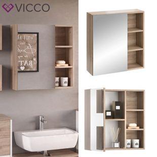 VICCO Spiegelschrank SENYO Weiß Sonoma Eiche Spiegel Badmöbelset Badspiegel - Bild 1