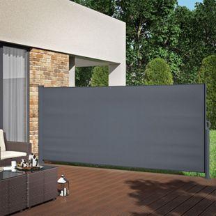 ALU Seitenmarkise Sichtschutz 160x350cm Sonnenschutz Seitenrollo Markise 280g/m² - Bild 1
