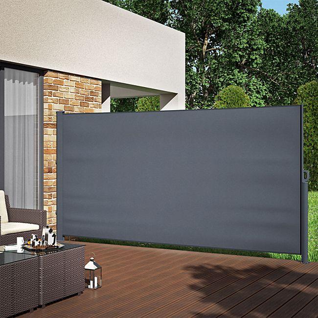 ALU Seitenmarkise Sichtschutz 180x350cm Sonnenschutz Seitenrollo Markise 280g/m² - Bild 1
