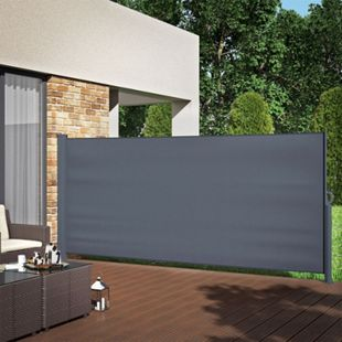 Seitenmarkise Sichtschutz 160x350cm Sonnenschutz Seitenrollo Markise Anthrazit - Bild 1