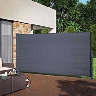 Seitenmarkise Sichtschutz 180x350cm Sonnenschutz Seitenrollo Markise Anthrazit - Bild 1