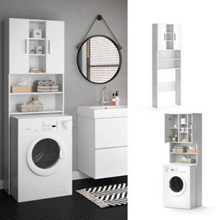VICCO Waschmaschinenschrank LUIS 190x64cm Weiß Badmöbel Badschrank Hochschrank - Bild 1