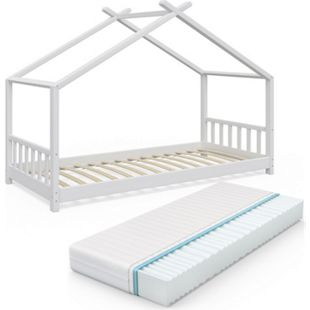 VitaliSpa Kinderbett Design Hausbett Kinder Bett Holz Haus 90x200cm Weiß - Bild 1