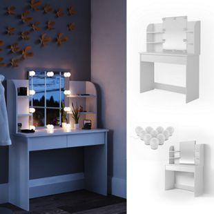 Vicco Schminktisch Charlotte Frisiertisch Kommode Frisierkommode Spiegel Weiß inklusive LED-Lichterkette - Bild 1