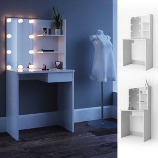 Vicco Schminktisch Dekos Kosmetiktisch Frisierkommode Frisiertisch Spiegel Weiß inklusive LED-Lichterkette - Bild 1