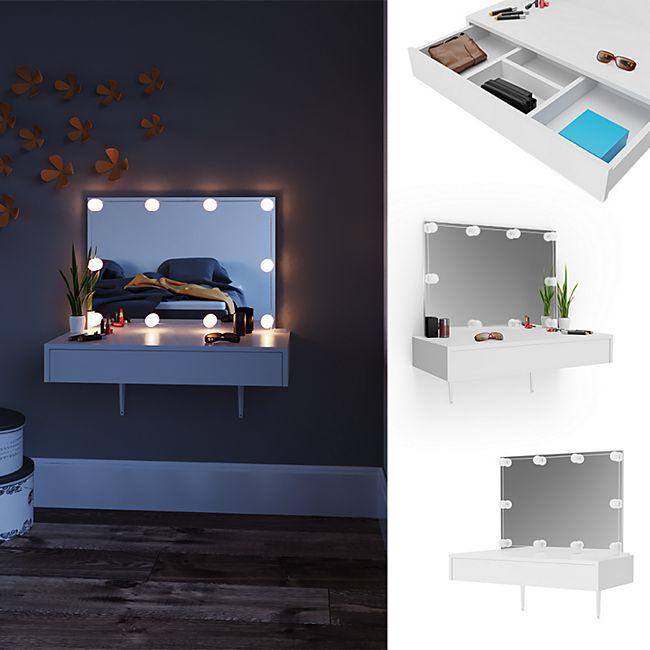 Vicco Schminktisch Alessia Frisiertisch Kommode Frisierkommode Spiegel Weiß inklusive LED-Lichterkette - Bild 1