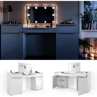 Vicco Schminktisch Lilli Frisiertisch Kommode Frisierkommode Spiegel Weiß inklusive LED-Lichterkette - Bild 1