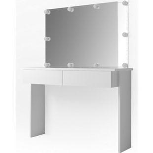 Vicco Schminktisch Azur Kosmetiktisch Frisiertisch Frisierkommode Weiß Hochglanz inklusive Spiegel und LED-Lichterkette - Bild 1