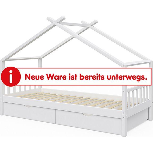 Vicco Kinderbett Design Hausbett mit Schubladen und Lattenrost 90x200cm Weiß - Bild 1