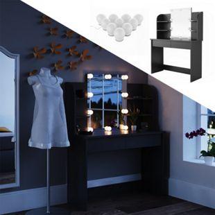 Vicco Schminktisch Charlotte Frisiertisch Kommode Frisierkommode Spiegel Schwarz inklusive LED-Lichterkette - Bild 1