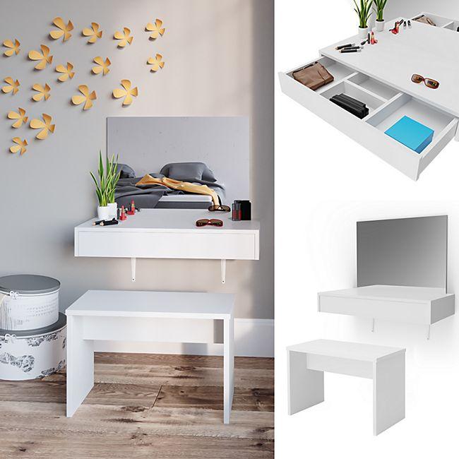 Vicco Schminktisch Alessia Frisiertisch Kommode Frisierkommode Spiegel Weiß inklusive Bank - Bild 1