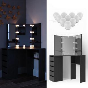 Vicco Schminktisch Arielle Frisiertisch Kommode Frisierkommode Spiegel Schwarz inklusive LED-Lichterkette - Bild 1