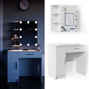 Vicco Schminktisch Fynnia Frisiertisch Kommode Frisierkommode Spiegel Weiß inklusive LED-Lichterkette - Bild 1