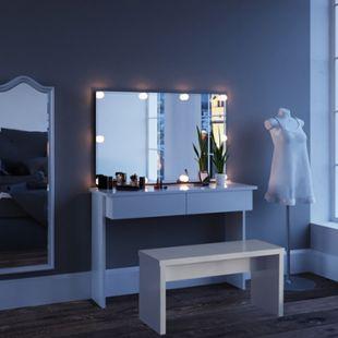 Vicco Schminktisch Azur Kosmetiktisch Frisiertisch Frisierkommode Weiß Hochglanz inklusive Sitzbank, Spiegel und LED-Lichterkette - Bild 1