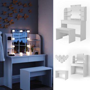 Vicco Schminktisch Charlotte Frisiertisch Kommode Frisierkommode Spiegel Weiß inklusive Bank und LED-Lichterkette - Bild 1