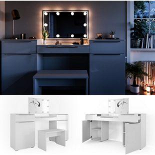 Vicco Schminktisch Lilli Frisiertisch Kommode Frisierkommode Spiegel Weiß inklusive Bank und LED-Lichterkette - Bild 1