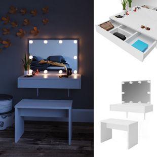 Vicco Schminktisch Alessia Frisiertisch Kommode Frisierkommode Spiegel Weiß inklusive Bank und LED-Lichterkette - Bild 1