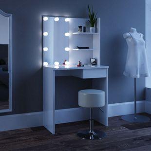 Vicco Schminktisch Dekos Kosmetiktisch Frisierkommode Frisiertisch Spiegel Weiß inklusive Hocker und LED-Lichterkette - Bild 1