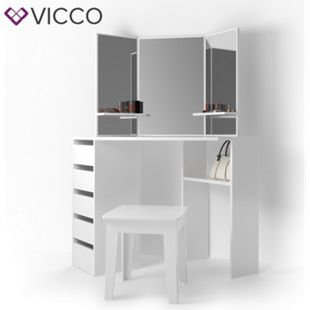 Vicco Eckschminktisch Arielle Kosmetiktisch Frisiertisch Schminktisch Weiß inklusive Sitzhocker - Bild 1