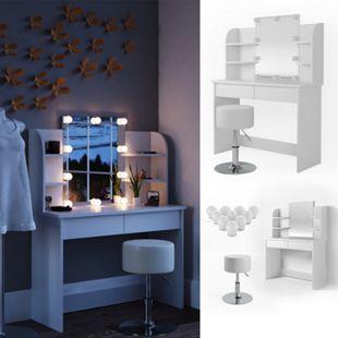 Vicco Schminktisch Charlotte Frisiertisch Kommode Frisierkommode Spiegel Weiß inklusive Hocker und LED-Lichterkette - Bild 1