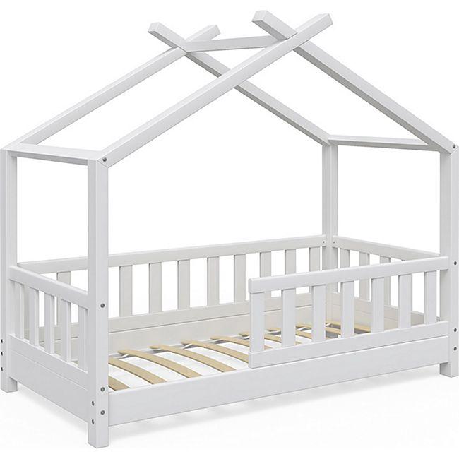 VitaliSpa Kinderbett Design Hausbett Zaun Kinder Bett Holz Haus Weiß 70x140cm - Bild 1