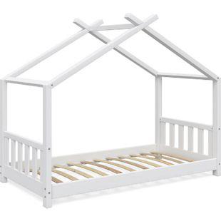 VitaliSpa Kinderbett Design Hausbett Kinderbett Kinder Holz Haus Zaun 80x160cm Weiß - Bild 1