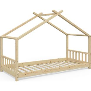 VitaliSpa Kinderbett Design Hausbett Kinder Bett Holz Haus 90x200cm  Natur - Bild 1
